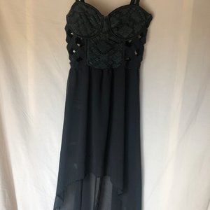 Black high low cut out dress
